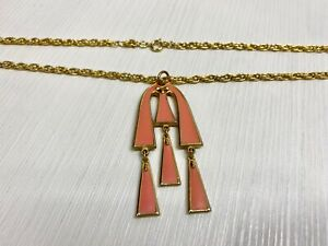 Vintage Necklace Pendant Gold Tone Mango Abstract Dangle Bold Rope Chain 1970s