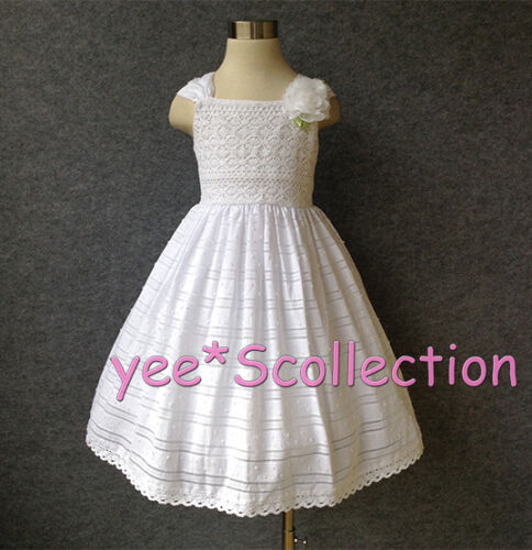 7y New White Lace Cotton Flower Girl Wedding Pageant Party Formal Dress Age 6M