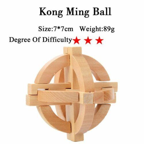 IQ Brain Teaser Kong Ming Lock Lu Ban Lock Wooden Interlocking Puzzles Game Toy