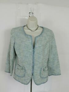 Ann-Taylor-Womens-Size-10-Light-Blue-Woven-Textured-Blazer-Jacket-Career