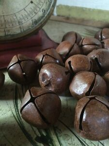 """(24) Primitive Rusty Tin JINGLE BELLS 30mm 1.25"""" 1 1/4 in Christmas Crafts"""