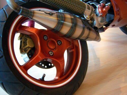 """500012 CERCHIONI Rand Adesivo MOTO SCOOTER AUTO 13/"""" 7mm ROSSO CURVO"""