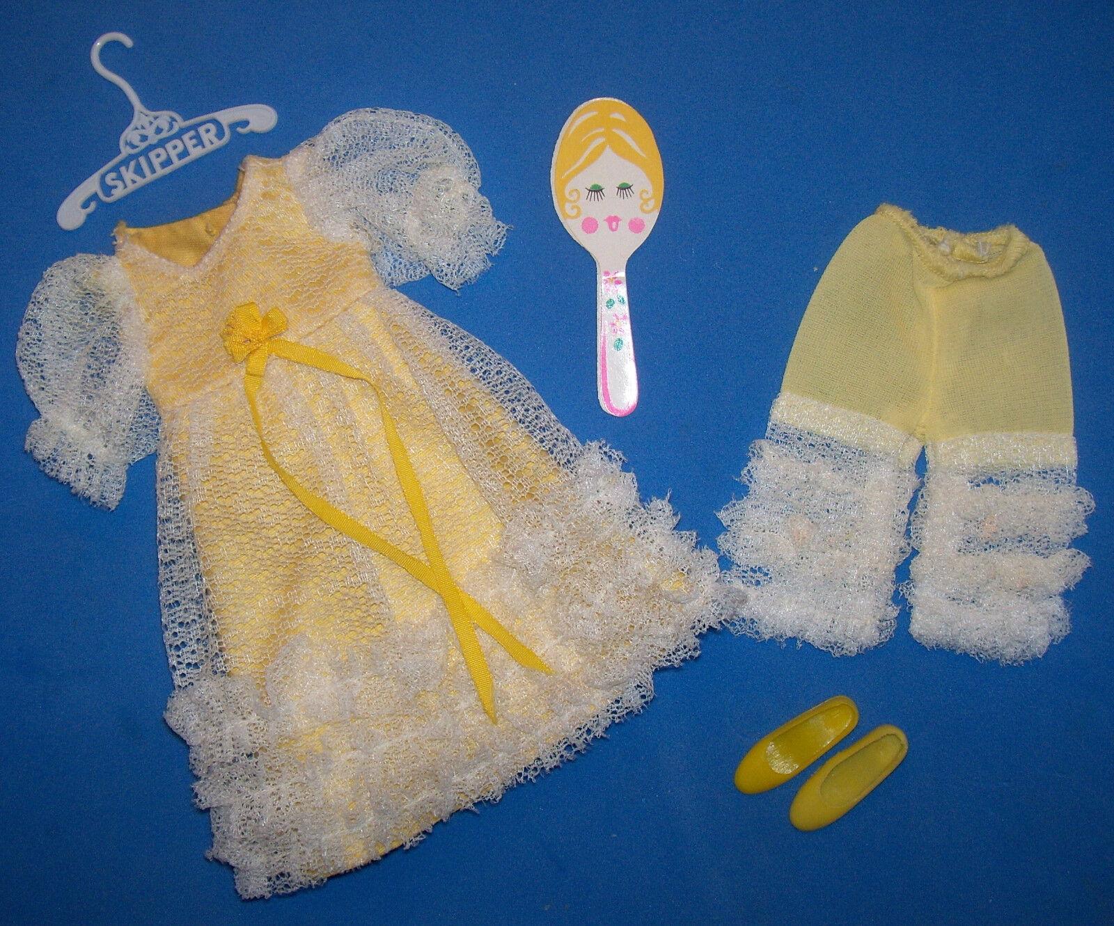 Vintage Skipper Puppe  1974 Eeny Meeny Midi Gelb Kleid Outfit 1969 Barbie