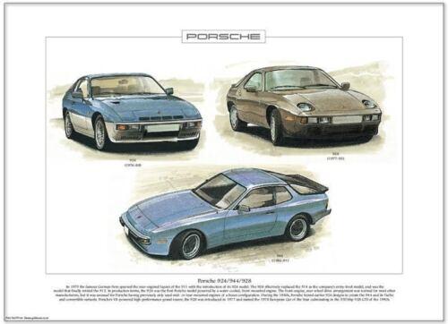 PORSCHE 924//944 928-FINE ART PRINT-FORMATO A3-front-engined tedesco Super Cars