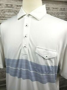 Matte-Grey-Mens-XL-S-S-Striped-Casual-Golf-Polo-Shirt-Pocket-White-amp-Blue