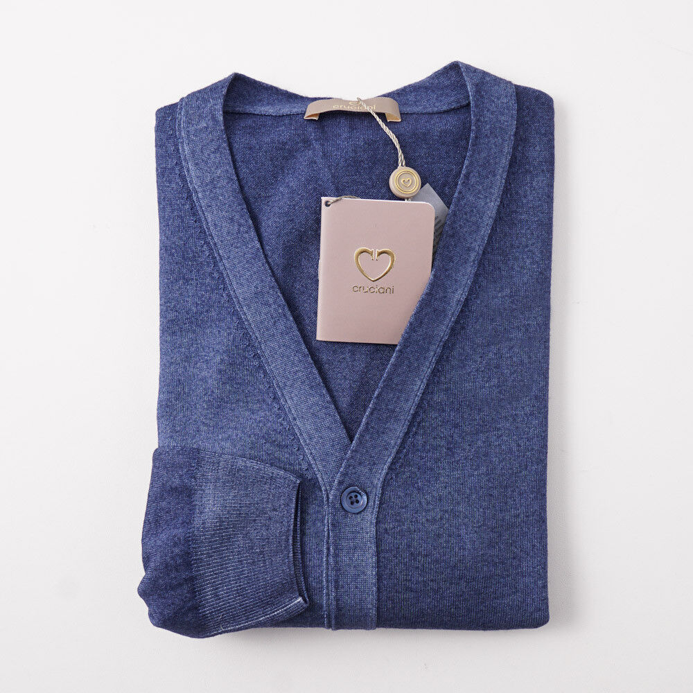NWT 695 CRUCIANI Blau Garment-Dyed Merino Wool Cardigan Sweater 3XL (Eu 650)