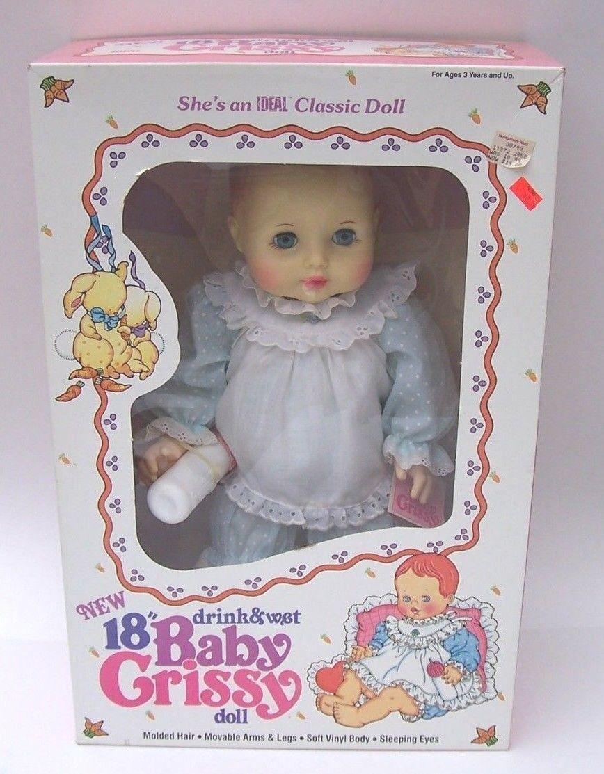 Baby Crissy 18  Ideal 1984 Muñeca con botella de bebidas y húmedas Nuevo En Caja