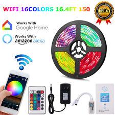 16.4ft Alexa Google Smart Home WIFI Wireless RGB Waterproof Strip Neon Light Kit