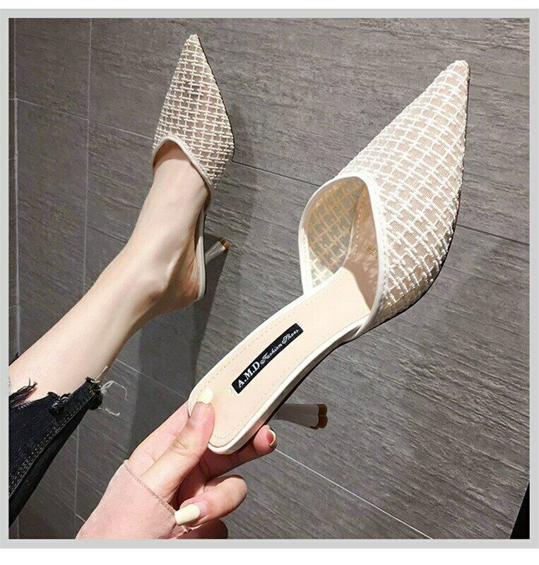 Womens Pointed Toe Slip On Slides Summer Shoes Mesh Slippers High Heels Sandals