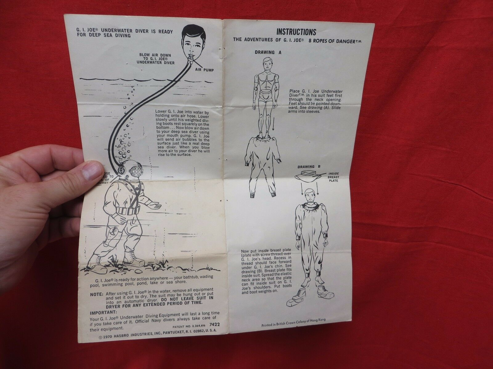 1964 VINTAGE GI JOE JOEZETA    1970 8 ROPES OF DANGER INSTRUCTIONS