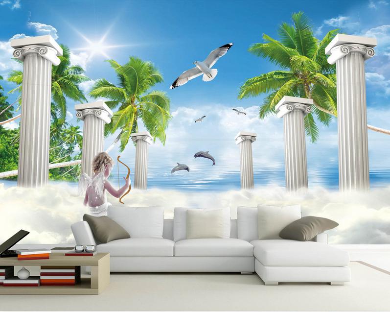 3D Amor Römische Säule 864  Tapete Wandgemälde Tapete Tapeten Bild Familie DE