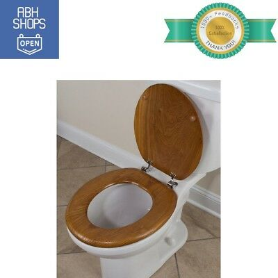 Round Toilet Seat Wood Look Molded Standard Size For