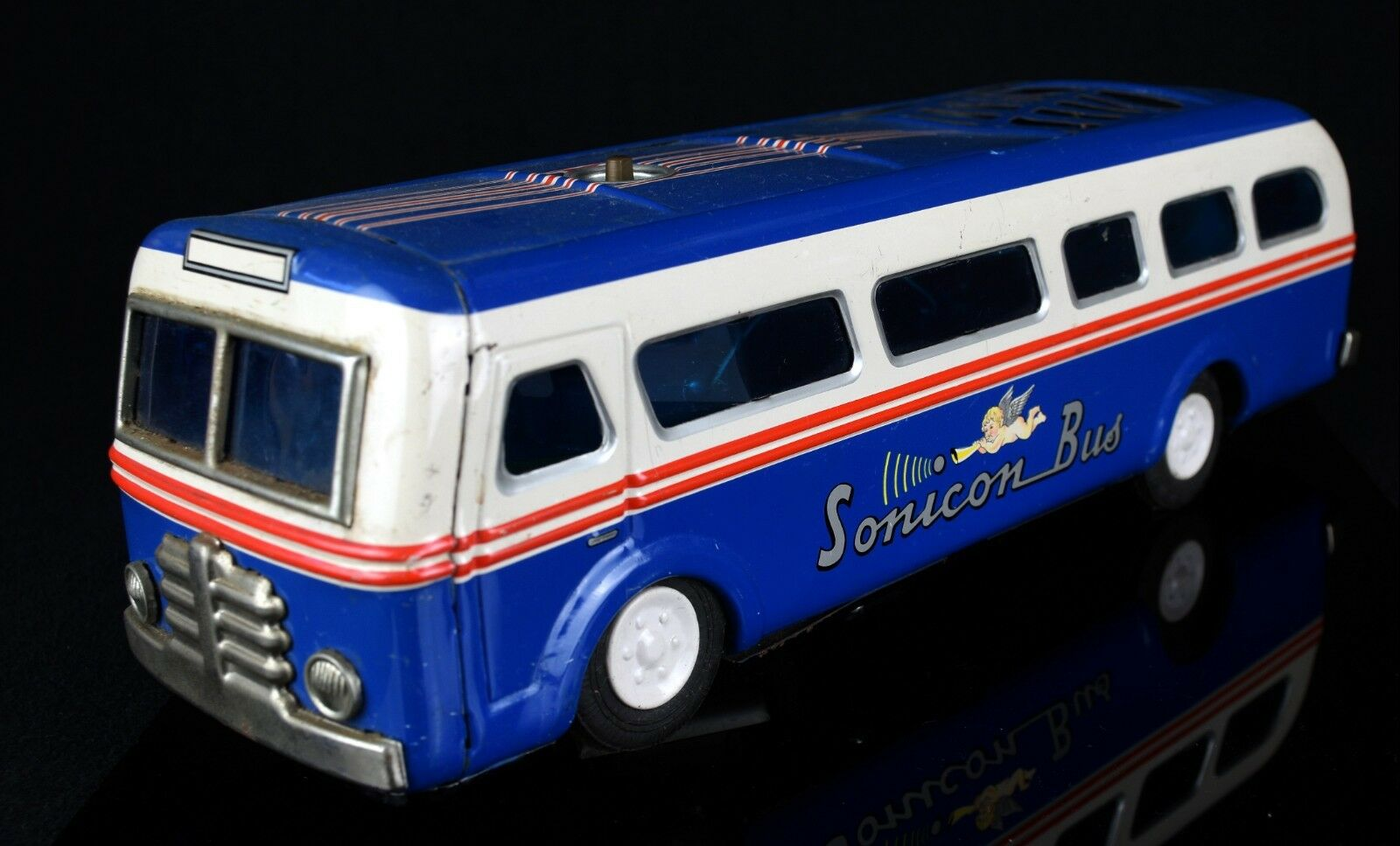 MASUDAYA -SONICON BUS- VINTAGE 1955 JAPANESE TIN PLATE blueE CAR TOY MODEL