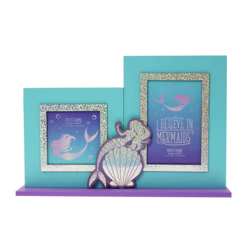 Blue Mermaid Double Photo Frame Picture Holder Family Portrait Image Box Display