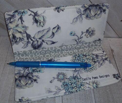 Grey Fabric Wallet in Rose Garden Print Document Coupon Organizer USA Handmade