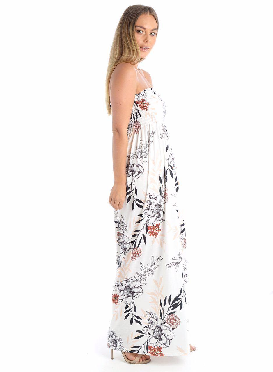Nouveau Haut Femmes Feuille imprimer rapport Gather Boobtube Dress Bandeau Maxi Dress Boobtube 8-22 47c3b0