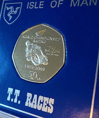 2009 Isle of Man TT Tourist Trophy Race 50p Coin (UNC) Collector Gift in Display
