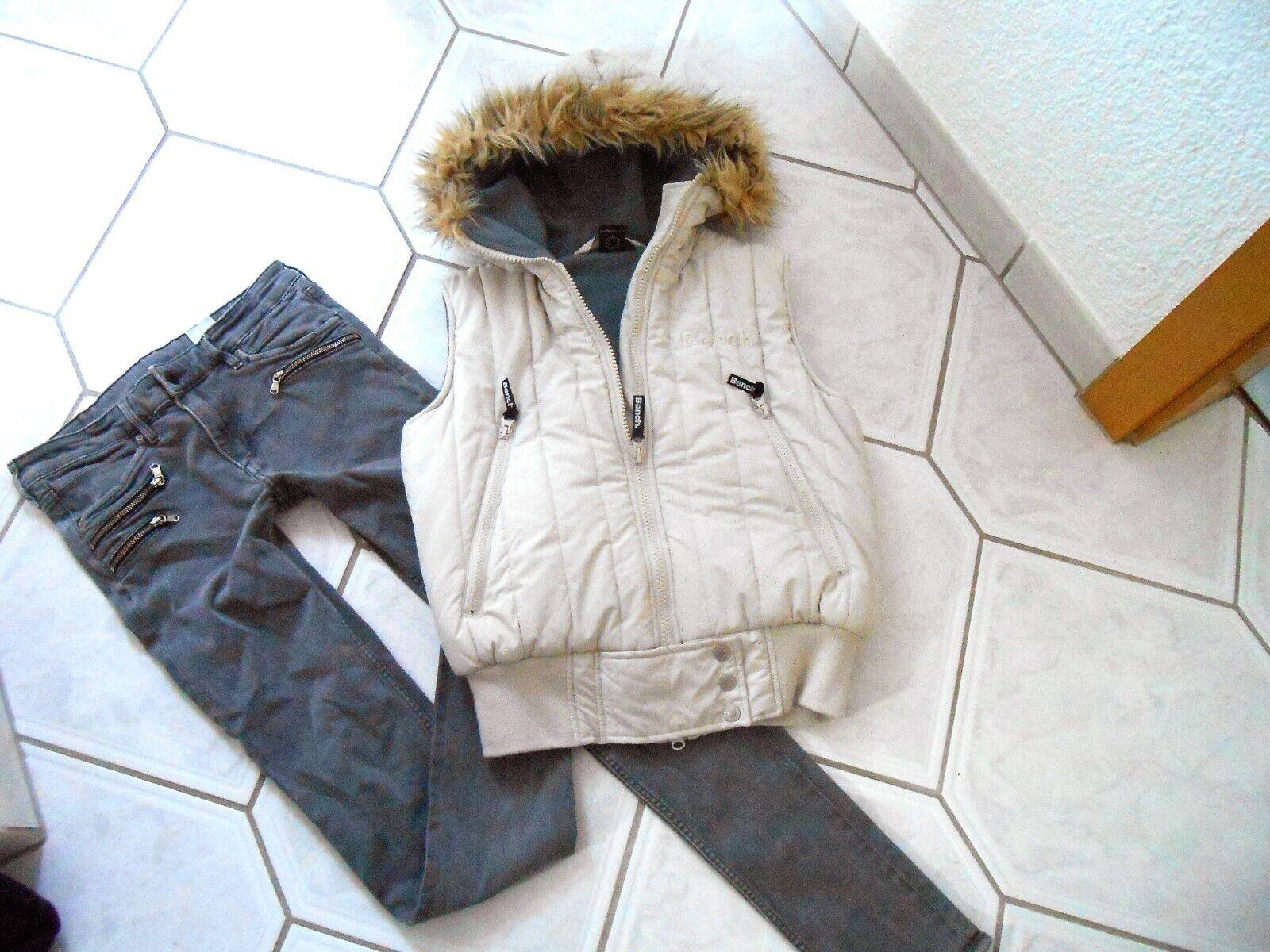 H&M Biker-Jeanshose und Bench Steppweste, Gr. S