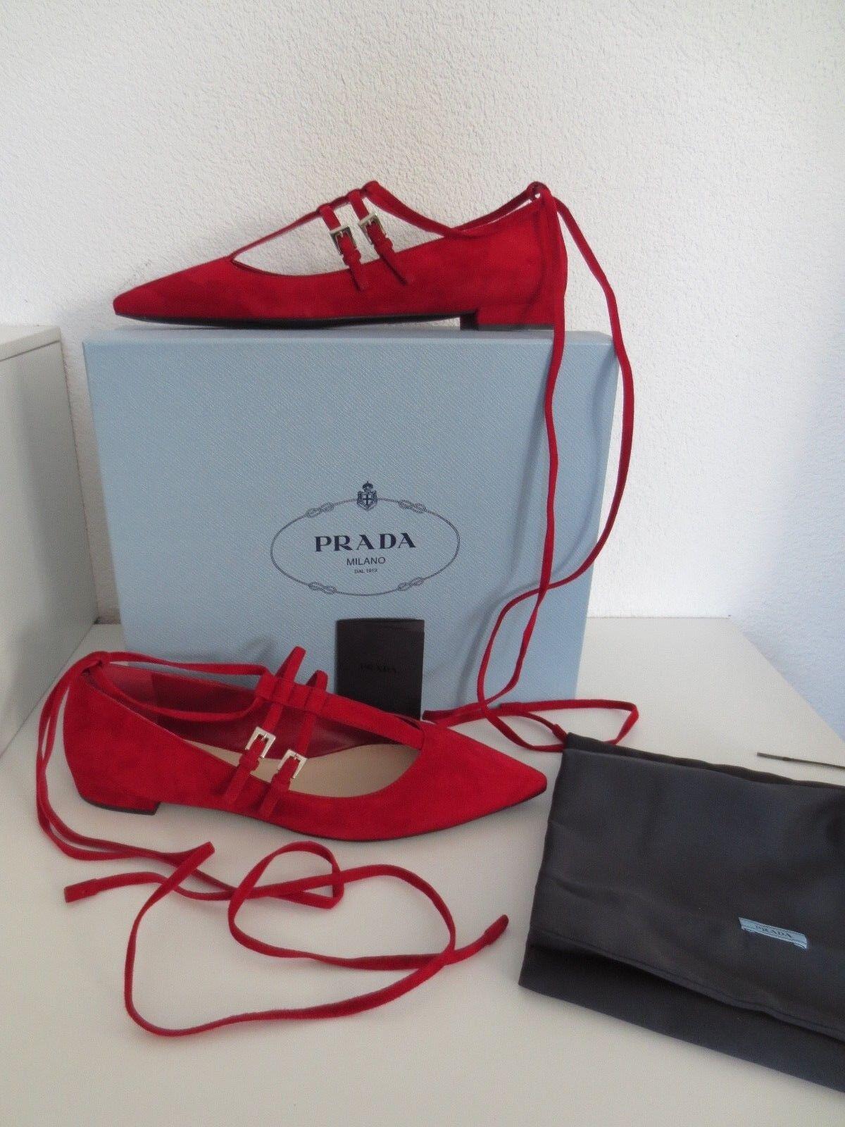PRADA Damen Ballerinas Gr. Schuhe 39,5 CHERRY Rot Leder Schuhe Gr. Ballerina neu 315d6e
