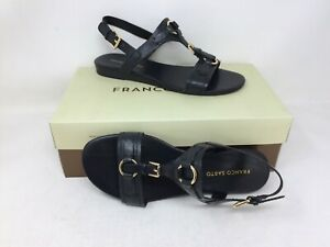 New-In-Box-Women-039-s-Franco-Sarto-Gili-Casual-Leather-Flat-Sandals-Black-43G