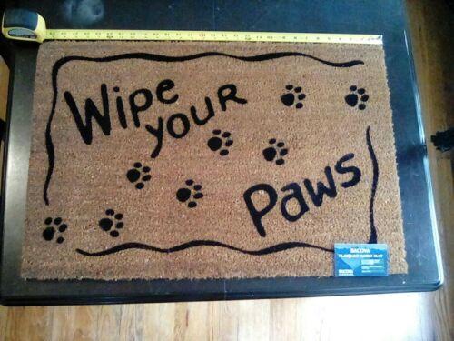 "BACOVA Flocked Koko Mat /""Wipe Your Paws/"" 19.25×29.25"