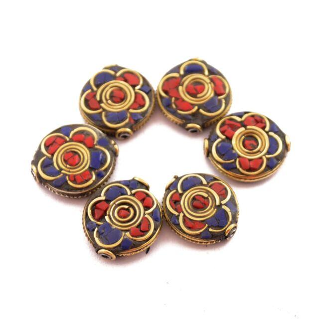 Coral Lapis Brass 6 Beads Tibetan Nepalese Ethnic Handmade Tibet Nepal UB13