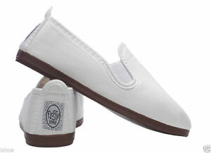 Flossy Style Slip On Shoe Zapatos Original Blanco Canvas Plimsoll Flossys MatéRiaux De Choix