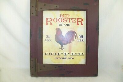 "TIN-UPS TIN SIGN /""Olde Red Rooster Coffee/"" Restaurant Cafe Rustic Wall Decor"