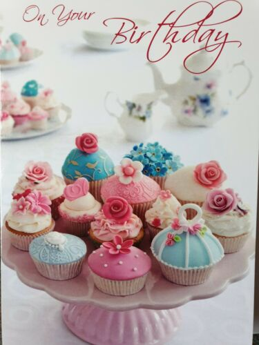 GENERAL FEMALE CUPCAKES BIRTHDAY CARD ON YOUR BIRTHDAY