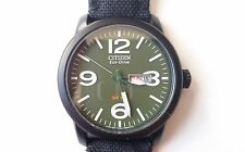 Pilot Watch Citizen Eco-Drive Military Black Canvas Strap 100m BM8475 BM8475-00X