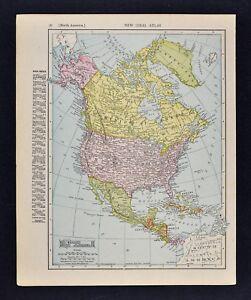 Map Of America Ebay.1911 Mcnally Index Map North America United States Canada Mexico
