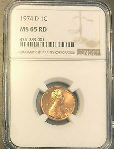 MS-65 Red Certified 1974-D Lincoln Memorial Cent in PCGS MS65RD