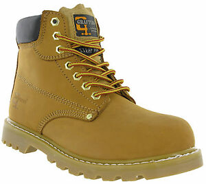 Grafters-Honey-Safety-Boots-Steel-Toe-Ankle-Padded-Goodyear-Welted-Leather-Mens
