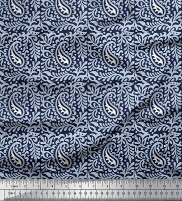 """Polycotton Printed PAISLEY PATTERN BLACK Fabric 60/"""" W Sold by the Yard NTXT-69"""