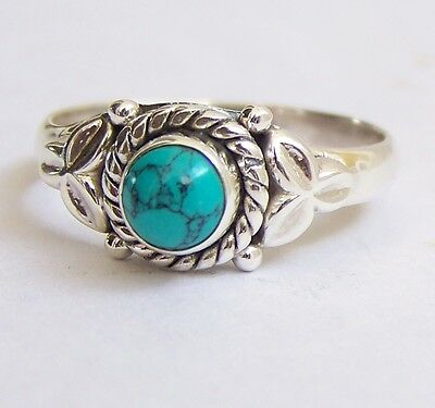 925 Sterling Silver Ethnic Ring 5mm Turquoise Handmade : Transcend