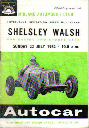 Shelsley Walsh Interclubes velocidad velocidad velocidad Hill Climb Original Programa Oficial 22 7 62 8ca97e
