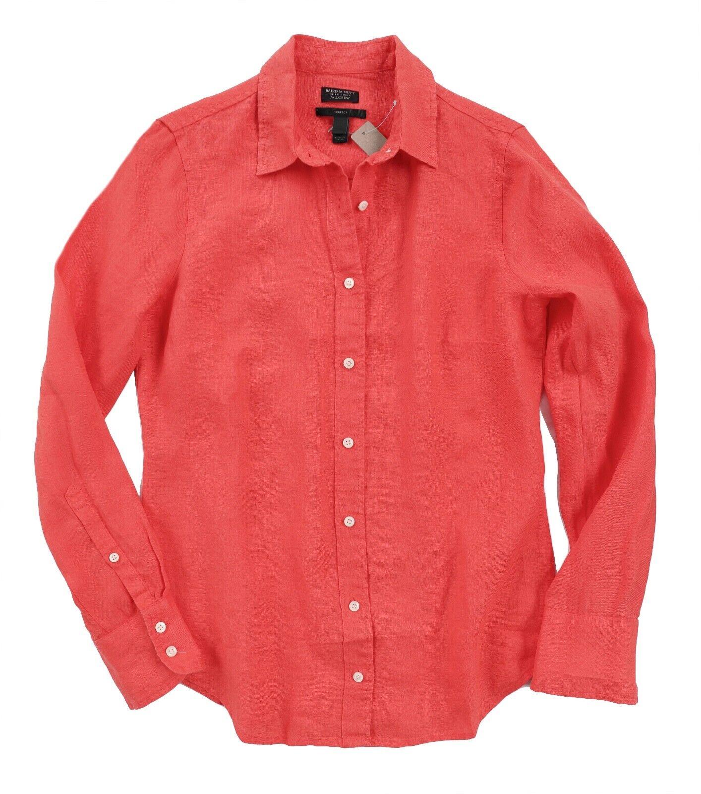 Baird McNutt for J.Crew Woherren 6 - NWT Coral Long Sleeve Irish Linen Shirt