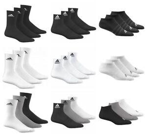 Adidas-Mens-Womens-Socks-3-Pairs-Crew-Quarter-No-Show-Sports-Cotton