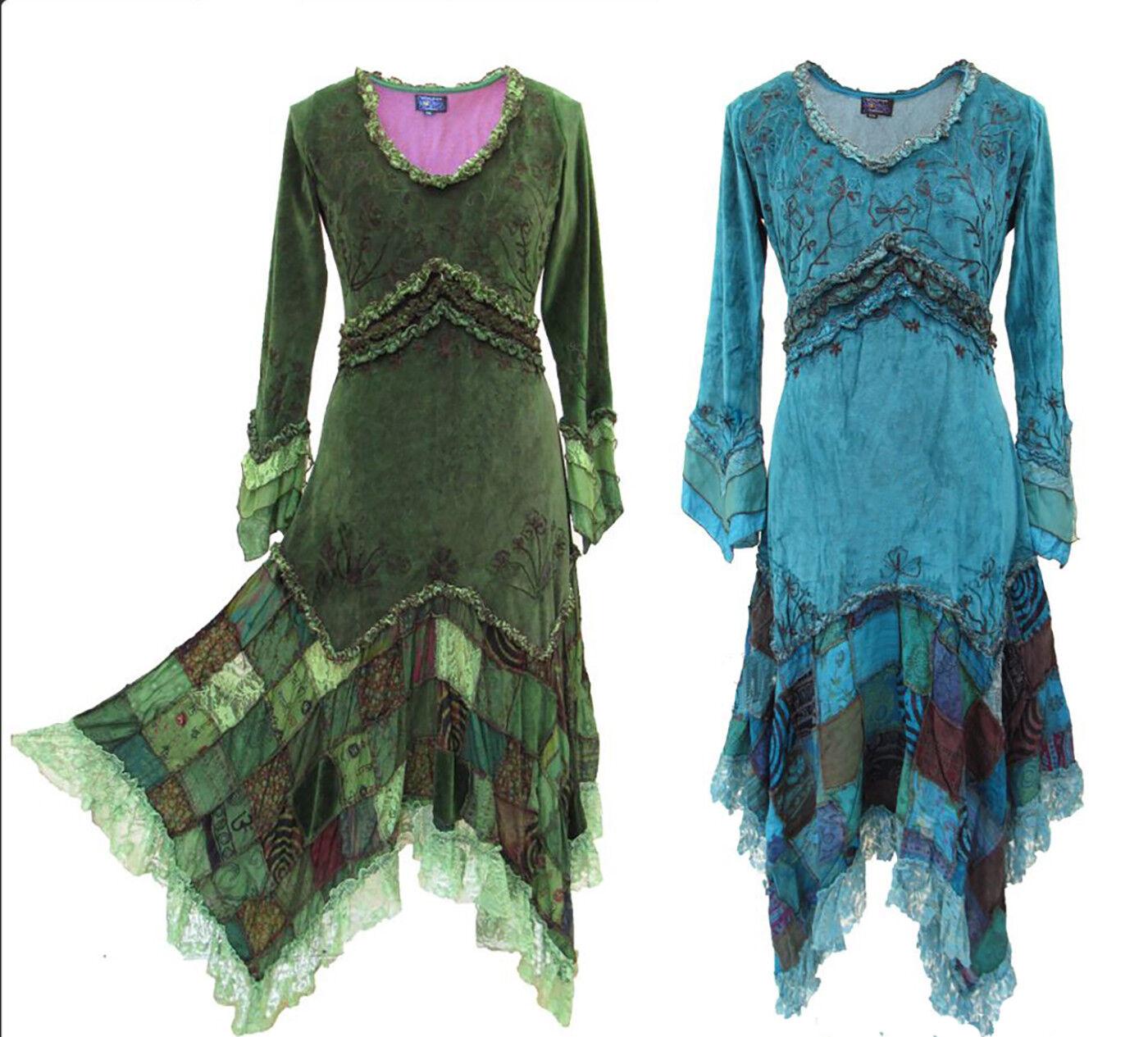 Steampunk Fée elfe robe latex GOA Boho Pixie Witch dentelle volants velours Dragon wk1