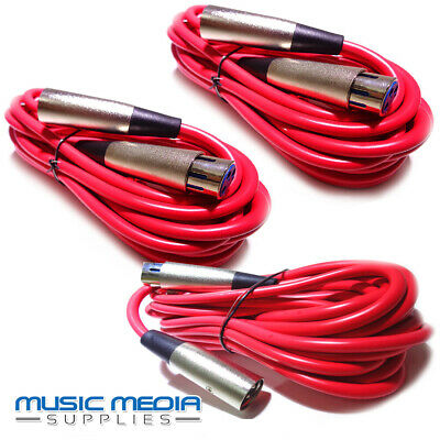 3X 6 Metre RED Microphone Lead Mic Cable XLR Patch Lead Balanced Stage DJ Band
