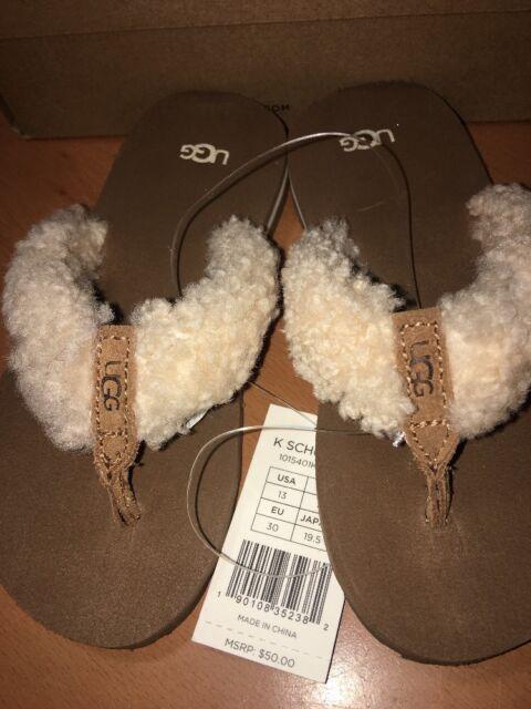069404363d6 UGG Kids Size 13 Chestnut UGG 1015401k Schutter Flip Flops Sandals