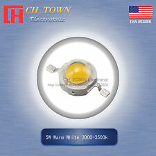 5Pcs 5W Watt High Power Warm White 3000-3500k LED Diodes Lamp Beads Bulb Chip