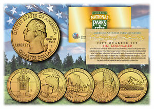 2010-America-The-Beautiful-24K-GOLD-PLATED-Quarters-Parks-5-Coin-Set-w-Capsules