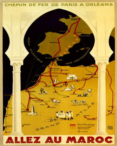 "Morocco Casablanca Map Travel Atlas Arab Arabic 16/"" X 20/"" Vintage Poster FREE SH"