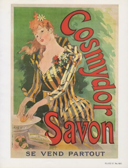 """1980 Vintage """"COSMYDOR SAVON"""" EARLY SOAP AD CHERET MINI POSTER Art Lithograph"""