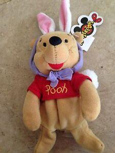 Disney-Mouseketoys-Easter-Bunny-Pooh-bear-8-034-Plush-Mini-Bean-Bag-Toy