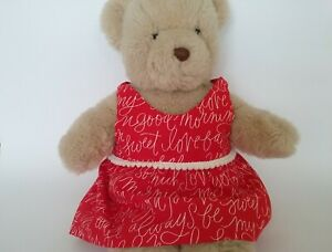 Teddy-Bear-Clothes-Handmade-039-Heart-039-Red-Cotton-Dress-with-Love-You-Words-Print