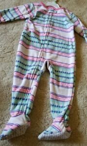 Carter-s-Girls-Fleece-Striped-Footed-Pajamas-Sleeper-18-months-New-with-tags