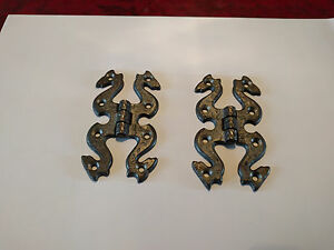 Cast-Iron-Pewter-Finish-10-Pairs-Butterfly-Snake-Cabinet-Door-Hinges-amp-Fixings
