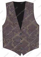 Steampunk Men Bronze Mauve Gothic Historical Western Brocade Vest Waistcoat